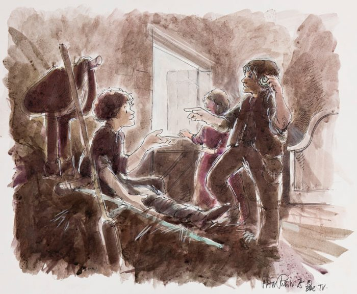 Jackanory 1970's BBC TV story board illustrationby Peter Rush