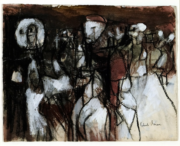 Robert Grieve Figures in Dark Landscape Mixed-media on paper