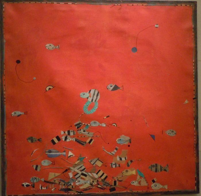 2 V115 Serie de los pescaditos 2008 acrilico con recortes de papel sobre tela 79 x 79.5cm