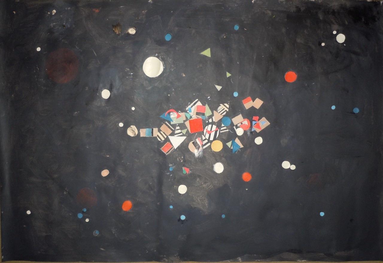 3 R075 Serie del cosmos 2014 acrilico con recortes de papel sobre tela 78x 116 cm