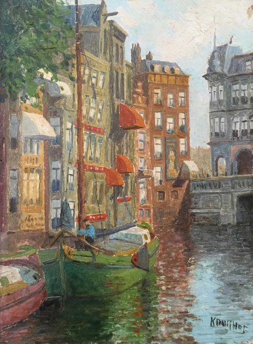 Cornelius P KRUITHOF Dutch 1905 Green Barge painting
