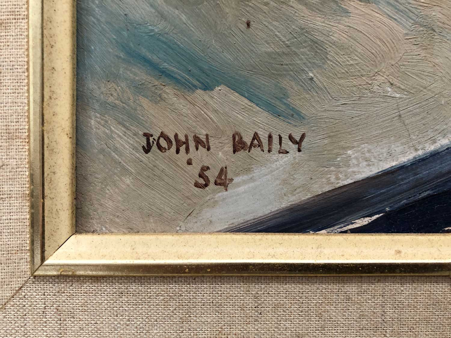 Harold John Baily Boats in Bay 1954 artwork signature